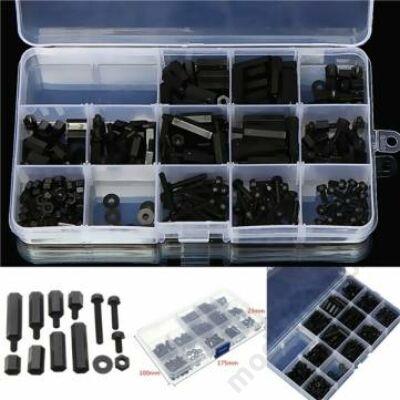 Műanyag távtartó szortiment (260db, fekete)
