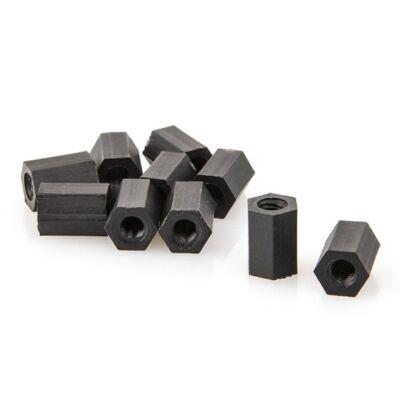 RCT műanyag távtartó - fekete (M3x10mm)
